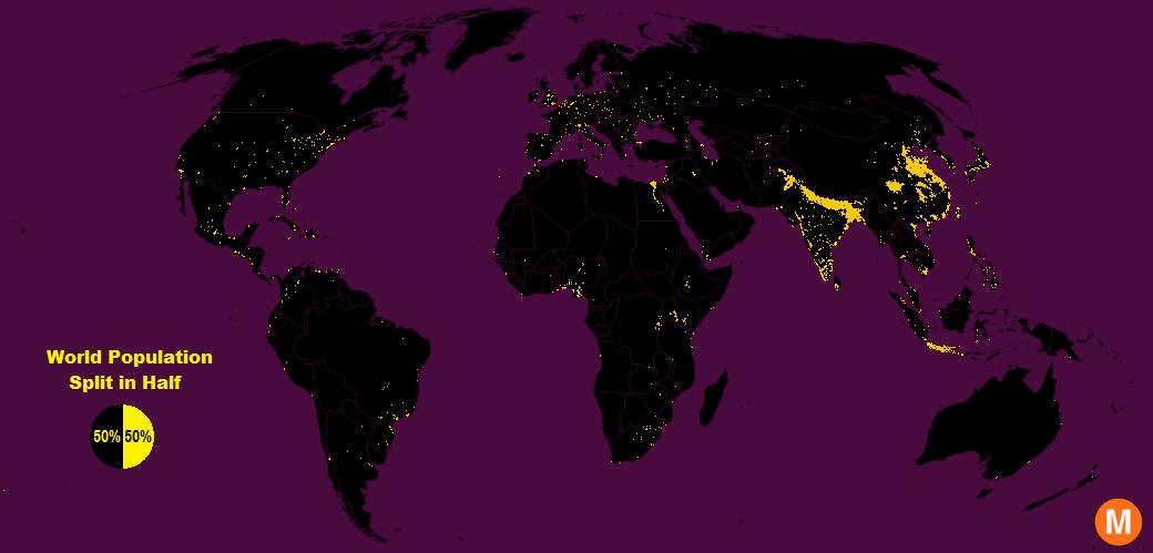 Verteilung der Weltbevölkerung.