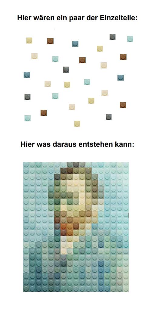 Das Bild zeigt in der oberen Hälfte einzelne kleine Bausteine. In der unteren Hälfte des Bildes sind diese einzelnen Bausteine dann so zusammengesetzt das sie ein Abbild von Vincent van Gogh ergeben.