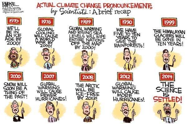 Karikatur über Klimawissenschaftler die seit 1970 erzählen das wir in 10 Jahren alle Tod sein werden.