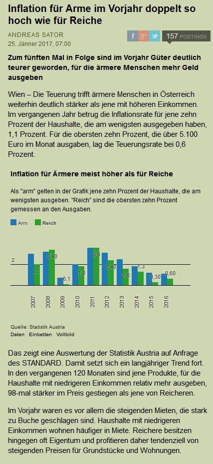 Eine Statistik (von der Statistik Austria) die zeigt das die Inflation regelmäßig - alle vergangenen Jahre für arme Menschen höher war als für reiche Menschen in Österreich. Das heißt, jedes Jahr wird es härter für Arme, während es für reiche leichter wird durchzukommen. (Ein altes Spiel, die Reichen spielen es mindestens seit ein paar Jahrtausenden.)