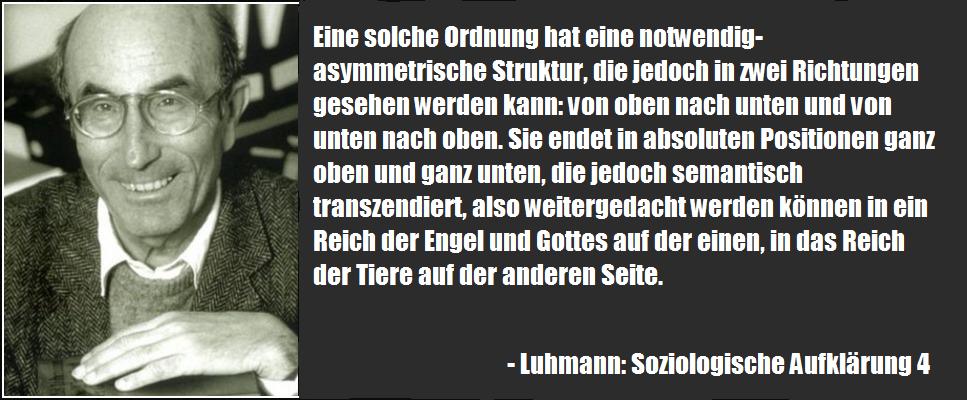 Kompliziertes Zitat von Niklas Luhmann in dem er sagt, dass man die emergente Ordnungsebenen der Welt, einmal von oben nach unten, oder von unten nach oben betrachten kann. Das ergiebt je ein anderes Bild.
