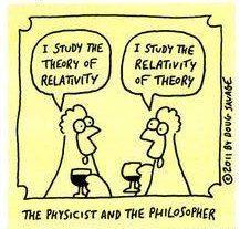 """Ein Physiker und ein Philosoph treffen sich in der Bar. Sagt der Physiker: """"Ich studiere die Relativitätstheorie."""" Sagt der Philosoph: """"Ich studiere die Relativität von Theorien."""""""