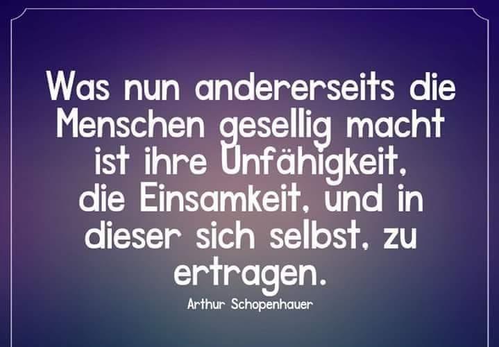 """Zitat von A.Schopenhauer: """"Was nun andererseits die Menschen gesellig macht ist ihre Unfähigkeit, die Einsamkeit, und in dieser sich selbst, zu ertragen."""" - (F.Nietzsche sagte das im Anschluss an Schopenhauer gleichbedeutend, nur mit anderen Worten.)"""