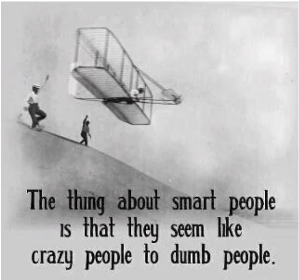 """Bild auf dem einer der ersten flugtüchtigen Segelflugzeuge abgebildet ist, ist untertitelt mit: """"The thing about smart people is, that they seem like crazy people to dumb people."""""""