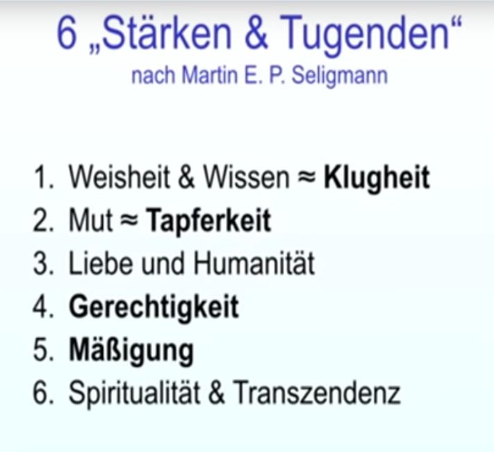 Die 6 Stärken und Tugenden laut des Psychologen Martin Seligmann: 1.) Weisheit und Wissen ~ Klugheit. 2.) Mut ~ Tapferkeit. 3.) Liebe und Humanität. 4.) Gerechtigkeit. 5.) Mäßigung. 6.) Spiritualität und Transzendenz   (Eine Tugend ist übrigens eine gewisse Leichtigkeit beim tun des guten.)
