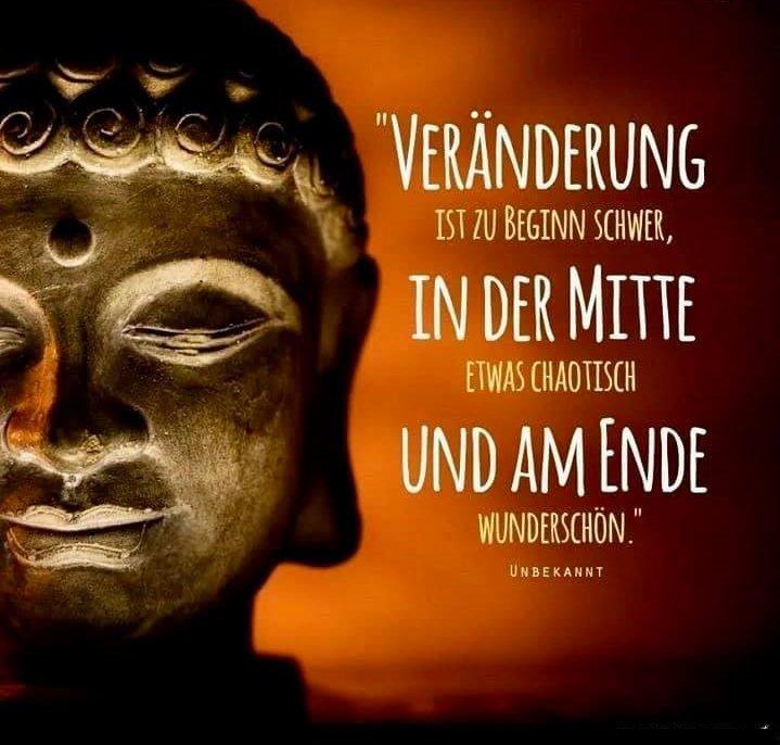 """Bild von schlafenden Buddha. Daneben der Spruch: """"Veränderung ist zu Beginn schwer, in der Mitte etwas chaotisch, und am Ende wunderschön."""" Zitat von: Unbekannt."""