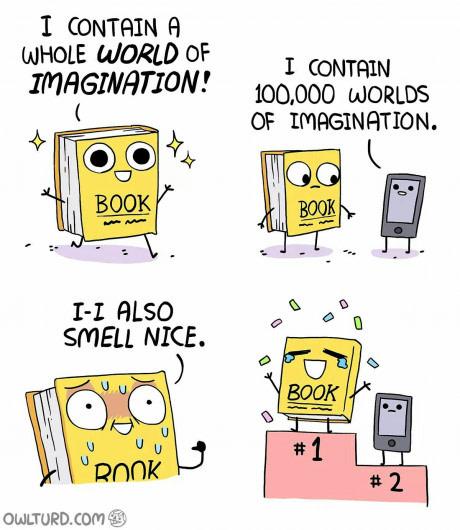 Comic bei dem Bücher als cool dargestellt werden.