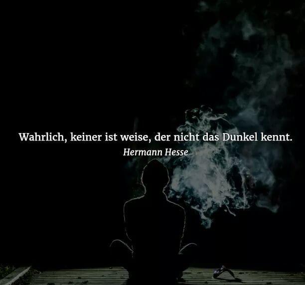 """Satz, geschrieben von Hermann Hesse einem sehr bekannten Autor: """"Wahrlich, keiner ist weise, der nicht das Dunkel kennt."""""""