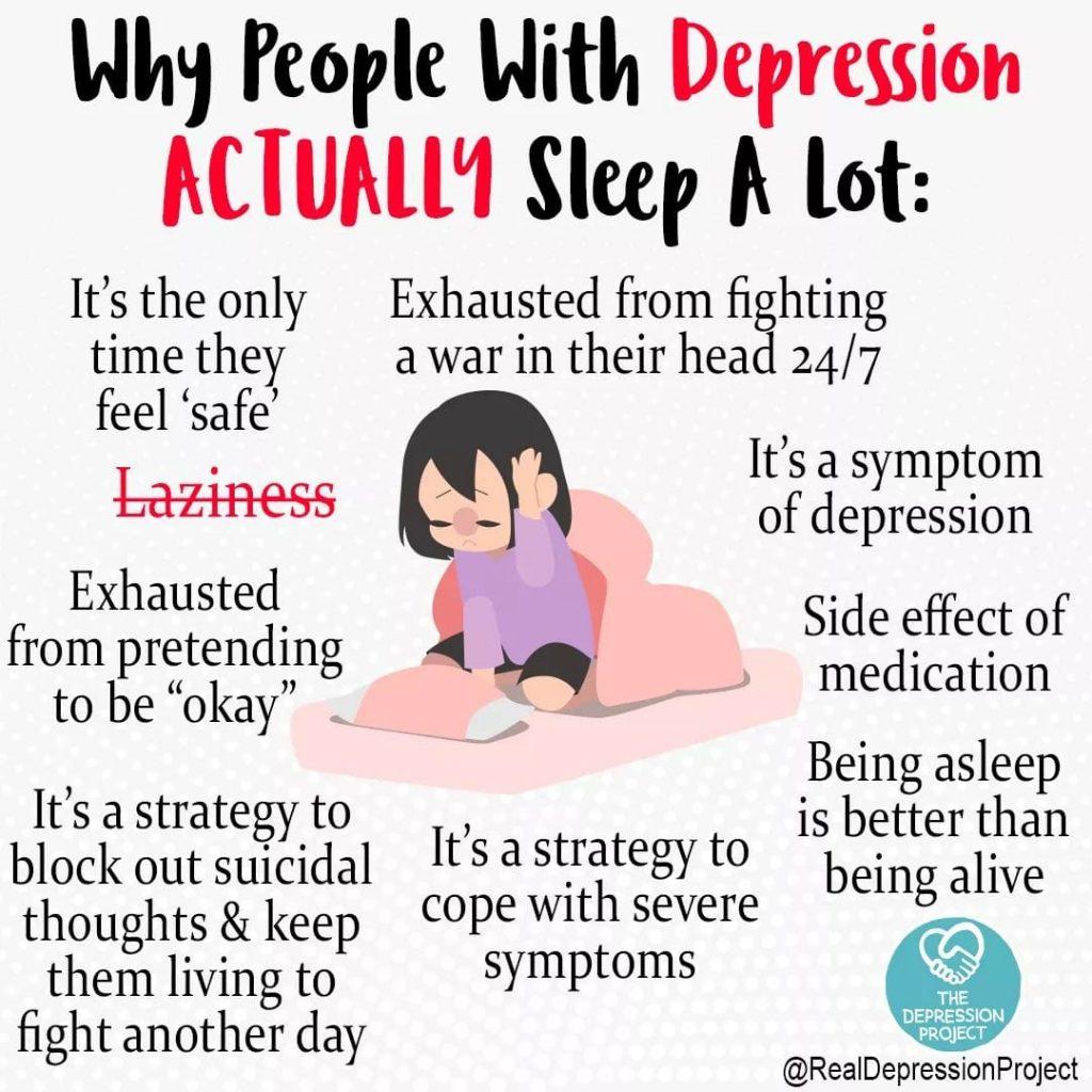 Ein Bild das über die Afinität von Depressionspatienten zum schlafen Auskunft gibt. Gründe u.a.: Sie fühlen sich dabei sicher. Es ist ein Symptom. Es hilft den Tag zu überstehen. Etc.