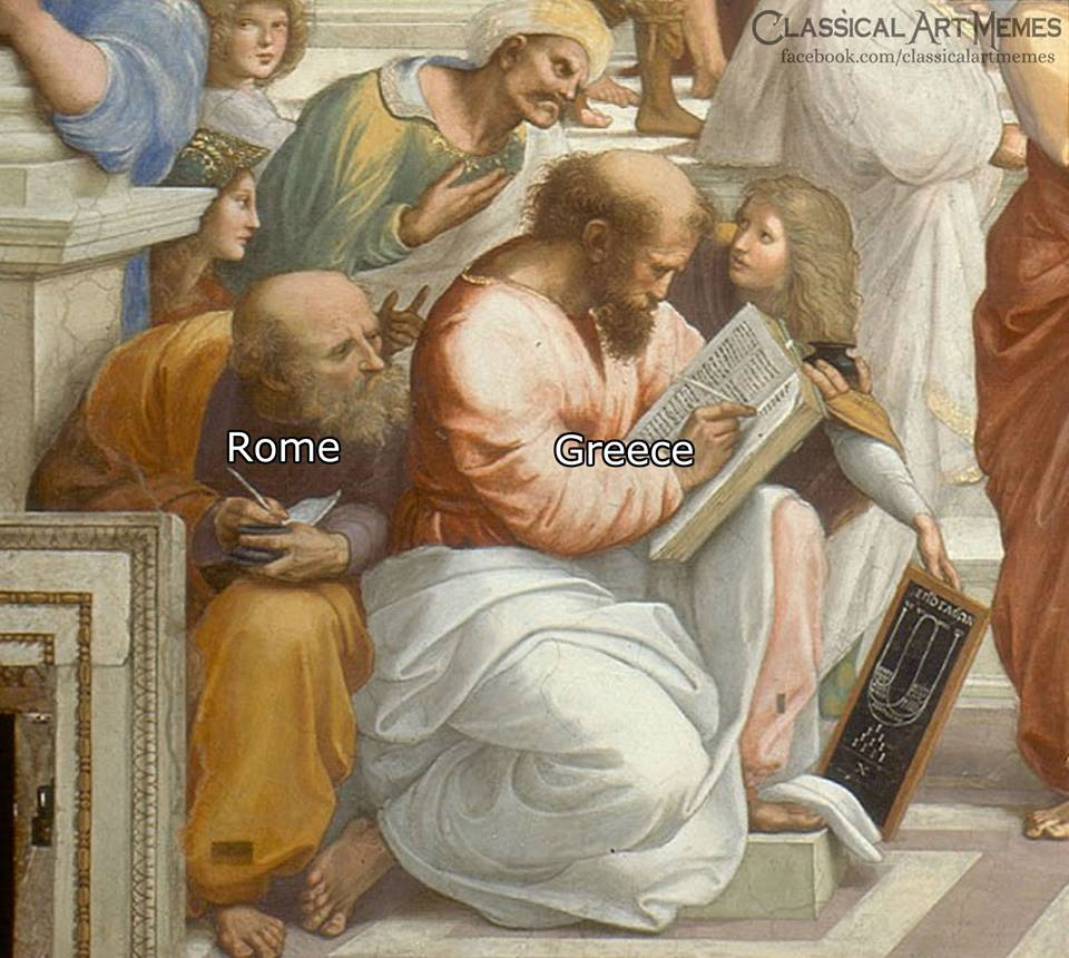 Bild von einem Teil eines Fresko von Michelangelo das zwei Männer zeigt, wobei der eine vom anderen etwas abschreibt. Das Original ist Griechenland und der der abschreibt ist als Rom markiert. Ein Meme das die Tatsache vermittel das viele Wissenschaftliche, kulturelle und intellektuelle Dinge der Griechen, im Laufe der Zeit von den Römer abgekupfert oder besser gesagt übernommen wurden.