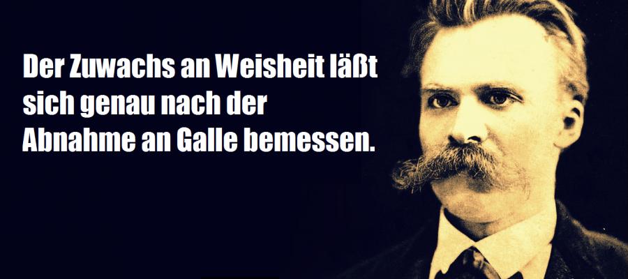 """Nietzsche: """"Die Zuhname an Weisheit läßt sich nach der Abnahme der Galle bemessen."""